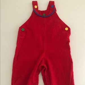 Vintage Red Corduroy Unisex Size 2T Bib Coveralls